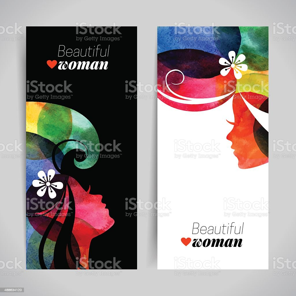 Set of banners with watercolor beautiful girl silhouettes. Vecto vector art illustration