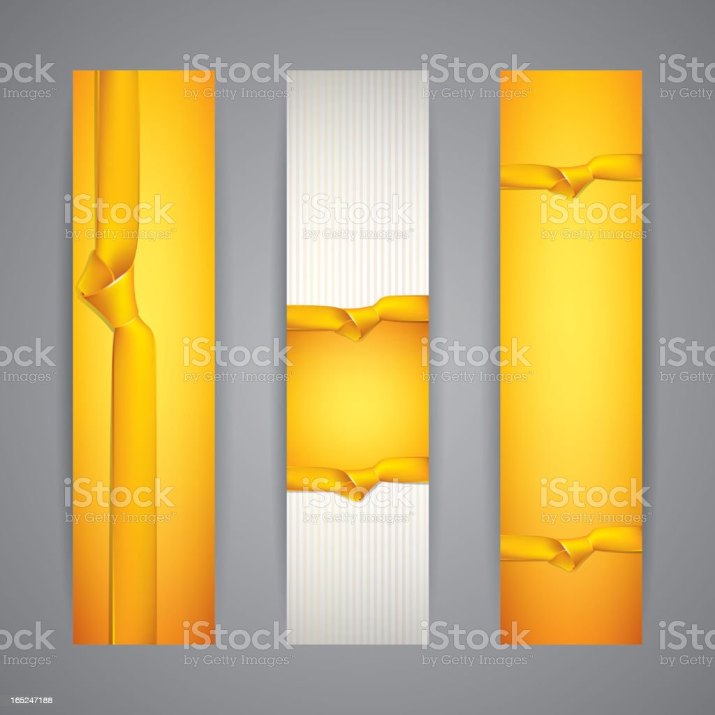 set of banners with yellow ribbons royalty-free stock vector art
