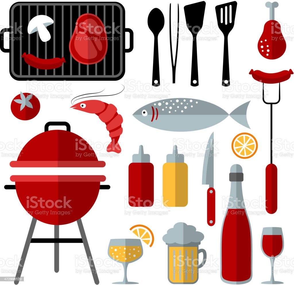 Set of barbecue food and utensils elements, flat design, vector vector art illustration