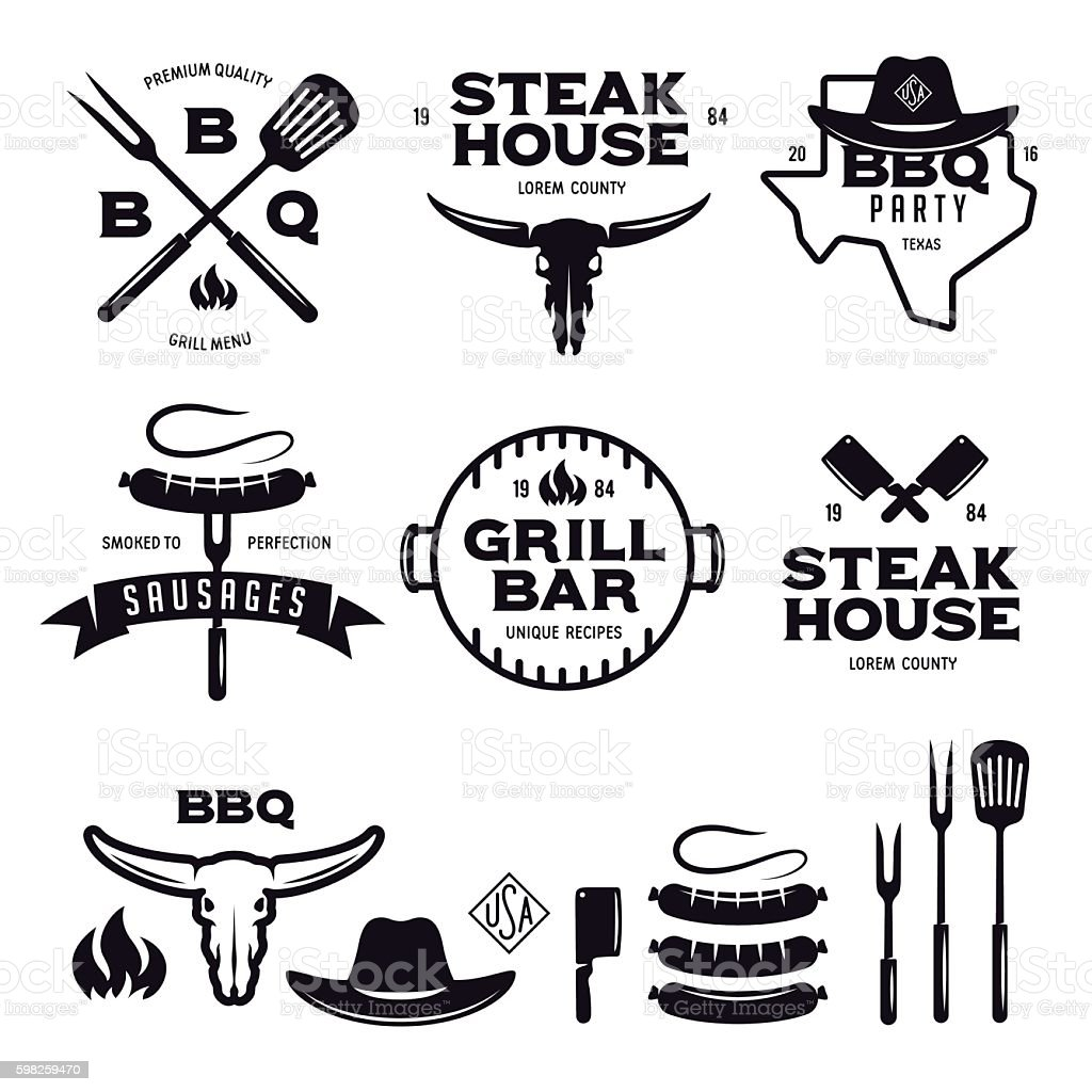 Set of barbecue steak house grill bar labels badges emblems vector art illustration