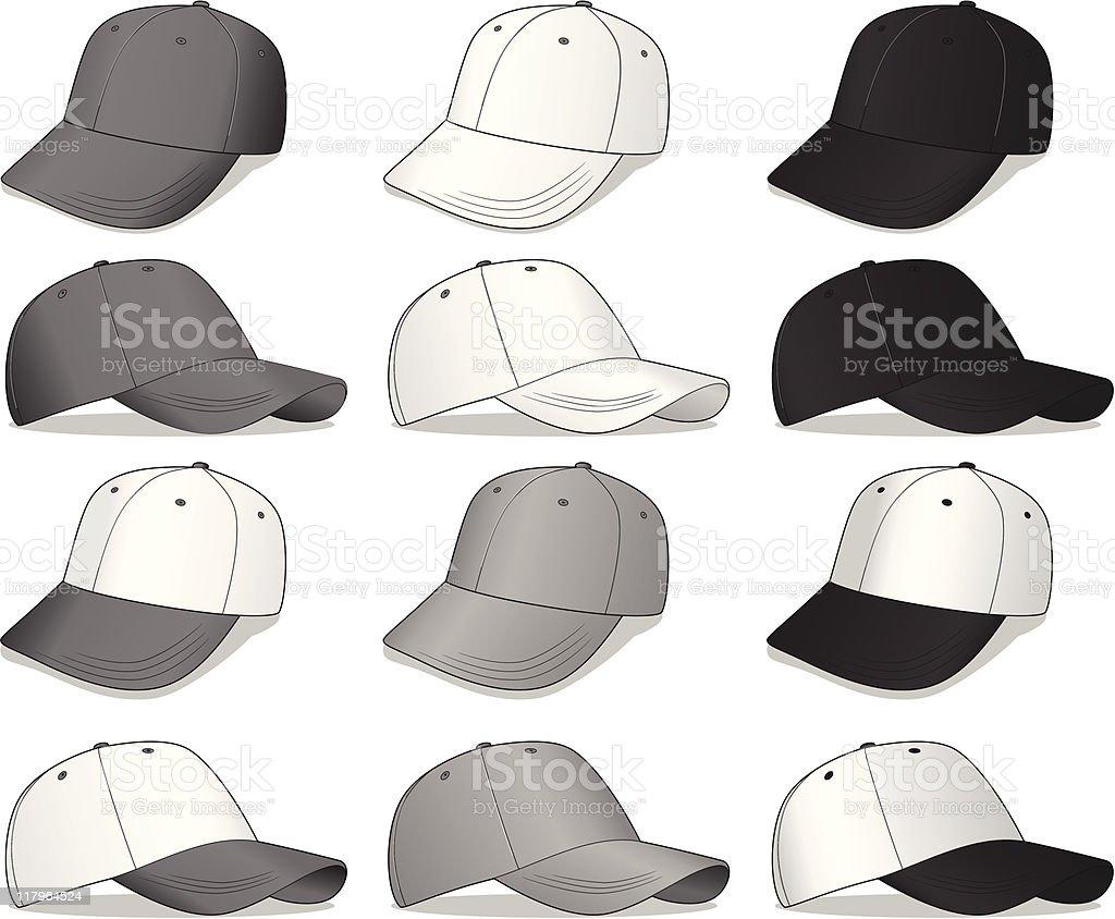 Set of Baseball Caps vector art illustration