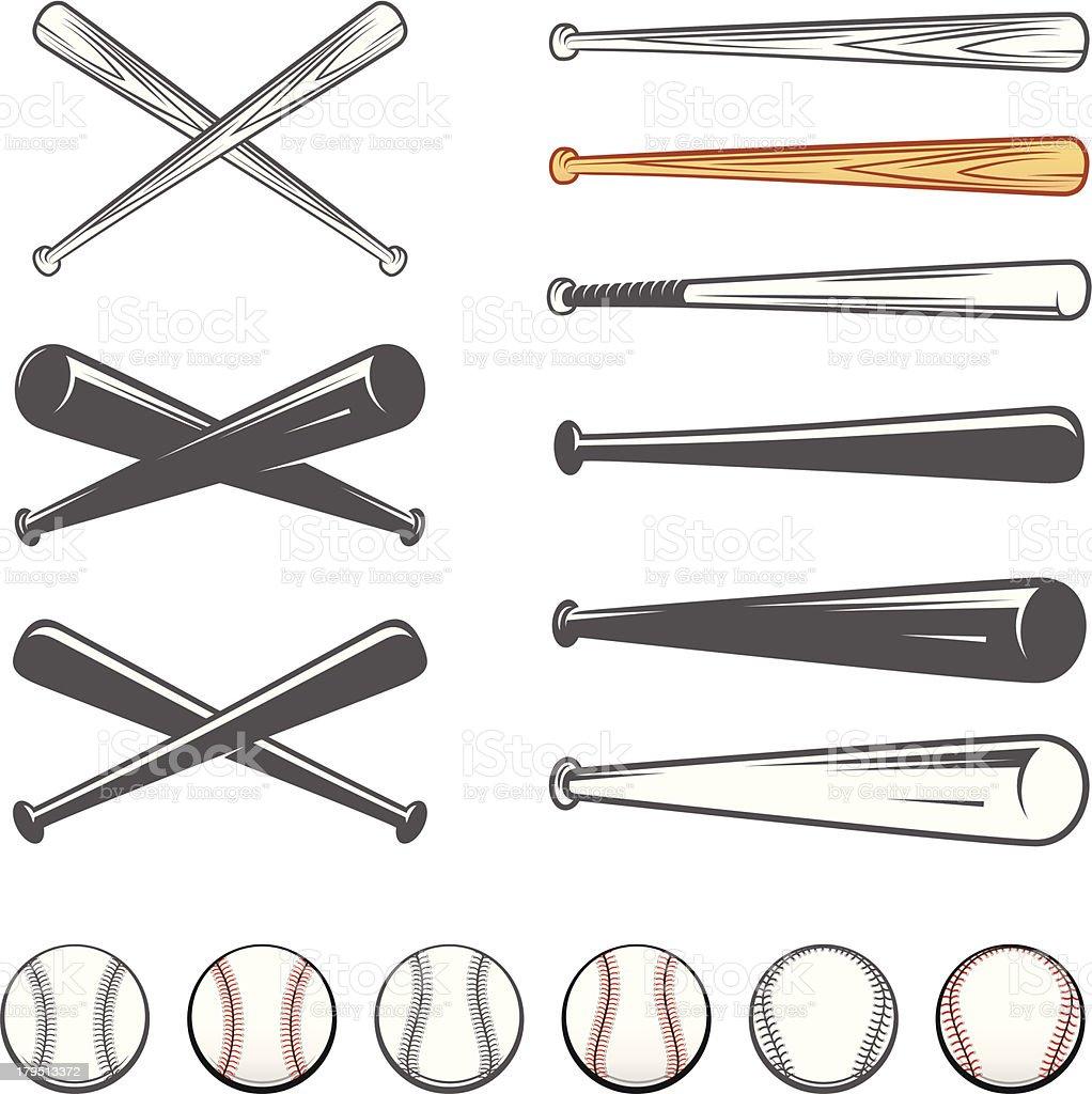 Set of baseball club emblem design elements vector art illustration