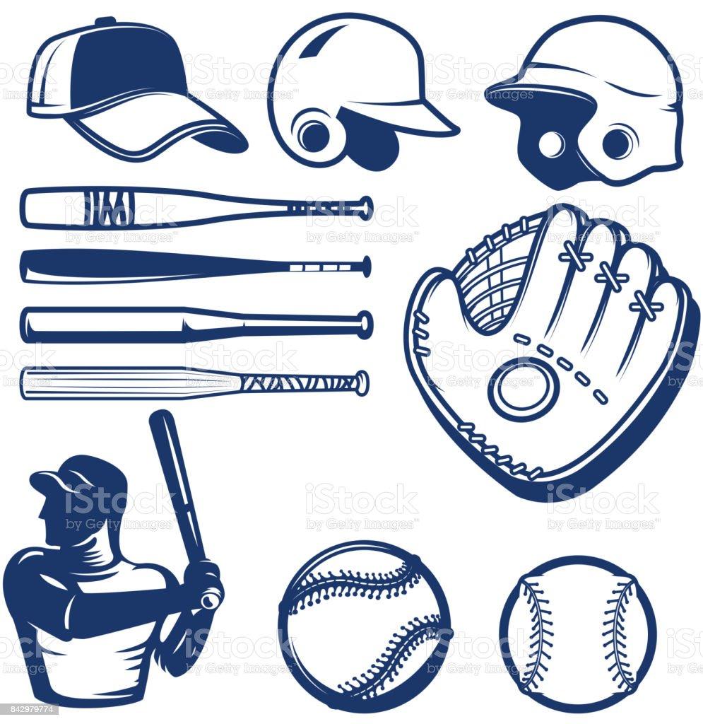 Set of baseball design elements. Baseball beats, balls, glove, hats. vector art illustration