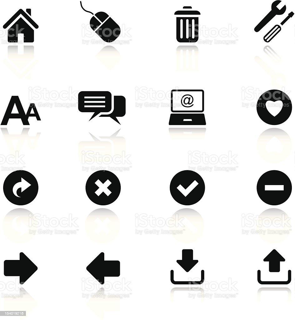 Set of basic black internet and website icons vector art illustration