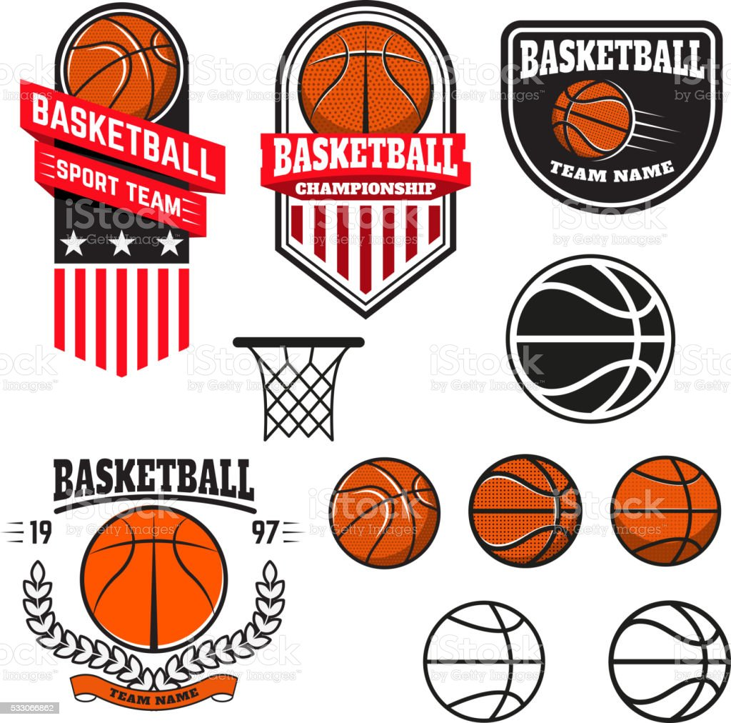 Set of  basketball labels and logos and design elements vector art illustration