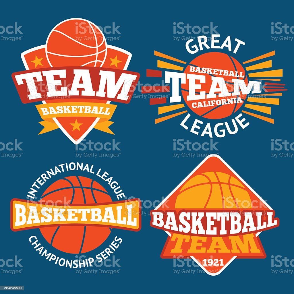 Set of basketball labels with balls and ribbons. Vector vector art illustration