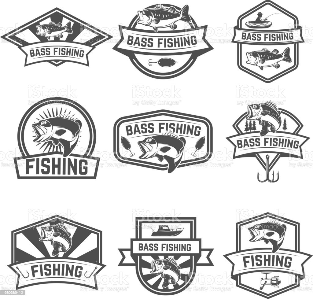 Set of bass fishing emblem templates isolated on white background. Design elements for label, sign. Vector illustration vector art illustration
