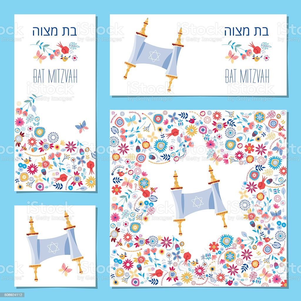 Set of Bat Mitzvah invitation cards with torah scroll vector art illustration
