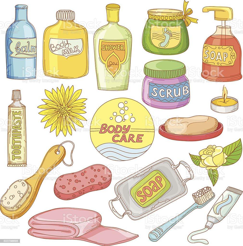 Set of Bath Accessories vector art illustration