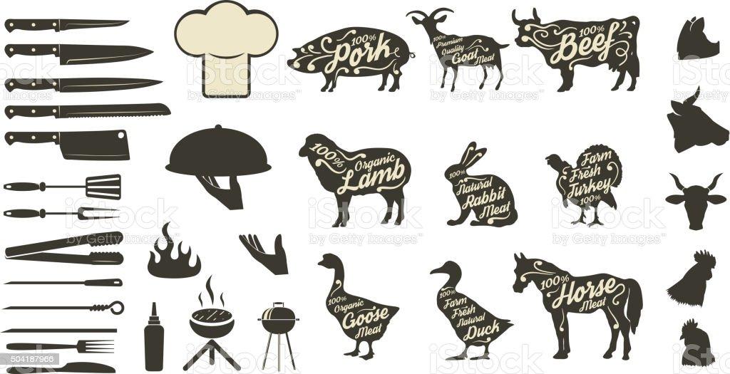 Set of bbq and grill menu design elements. vector art illustration