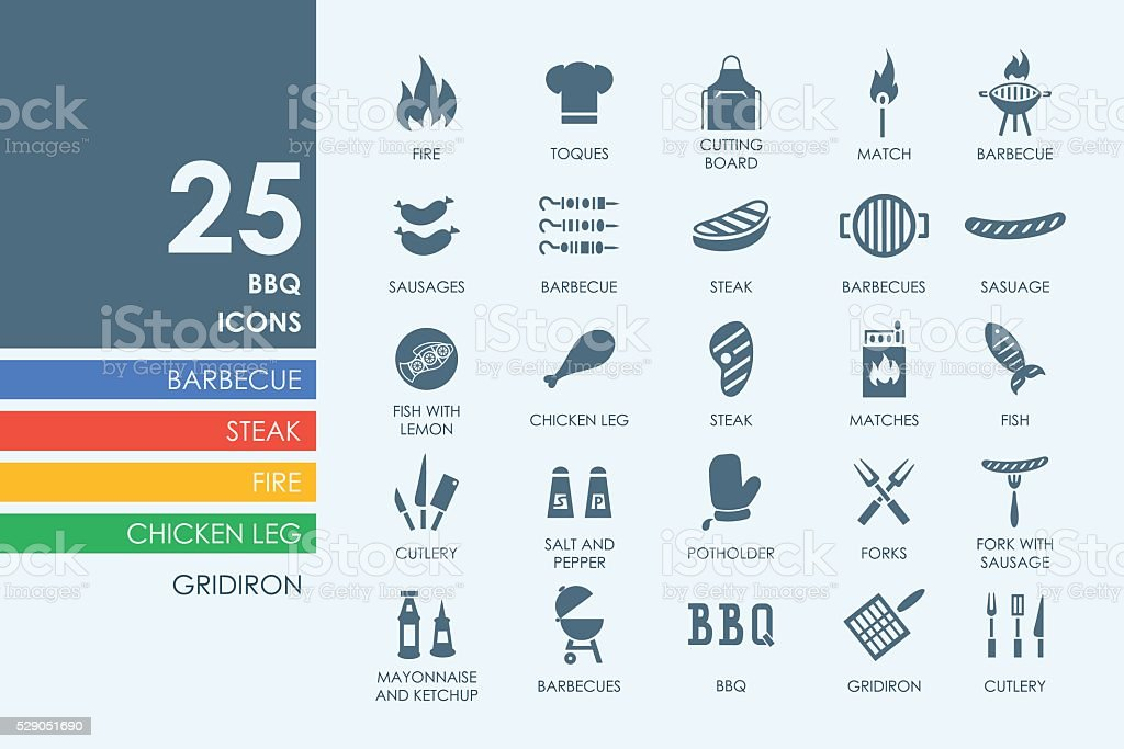 Set of BBQ icons vector art illustration