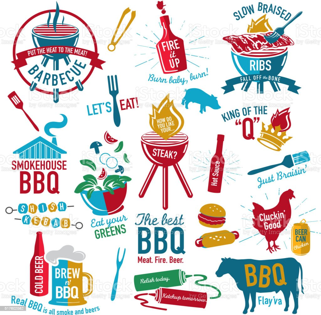 Set of BBQ themed icons labels with phrases or sayings vector art illustration