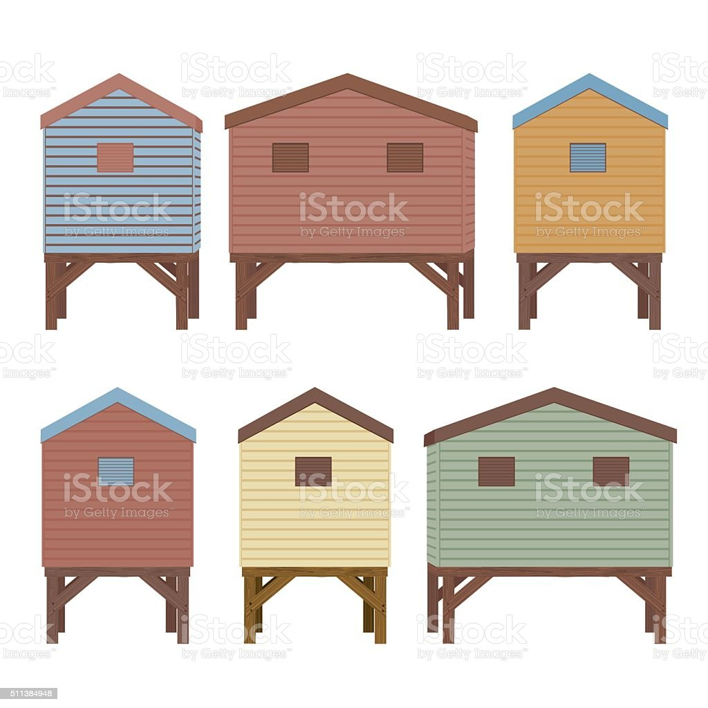 Set Of Beach Huts In Pastel Colors vector art illustration