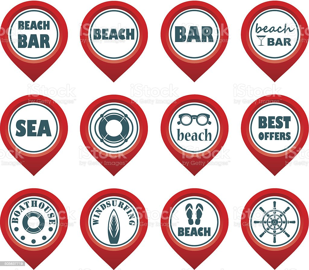 Set of beach map pointers royalty-free stock vector art