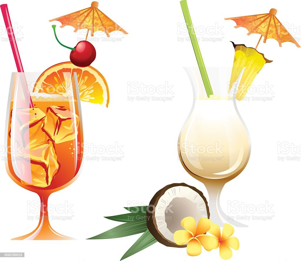 Set of beach tropical cocktails bahamamama and ponacolada with royalty-free stock vector art