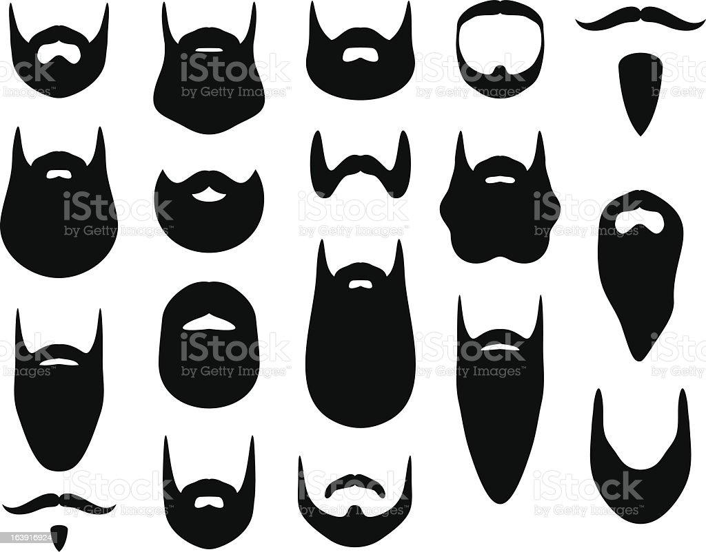 Set of beard silhouettes vector art illustration