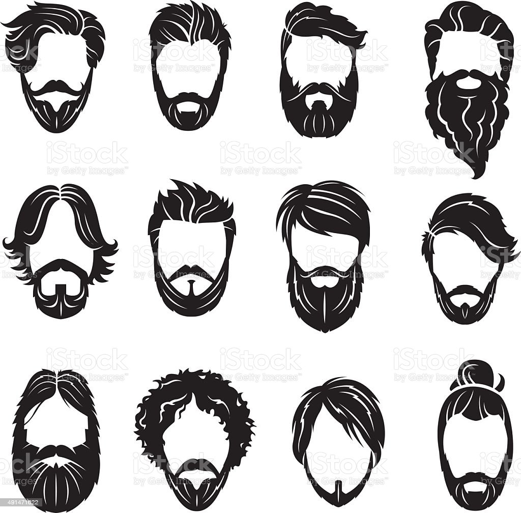 set of beards and hairs vector art illustration