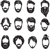set of beards and hairs