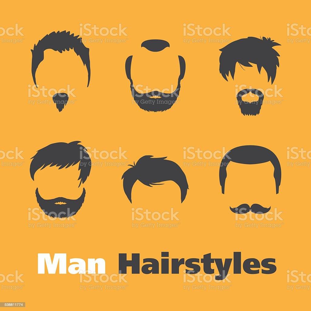 Set of beards and hairs (Man) vector art illustration