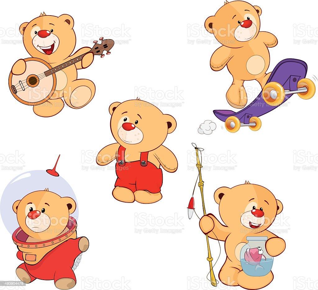 set of bears cartoon vector art illustration