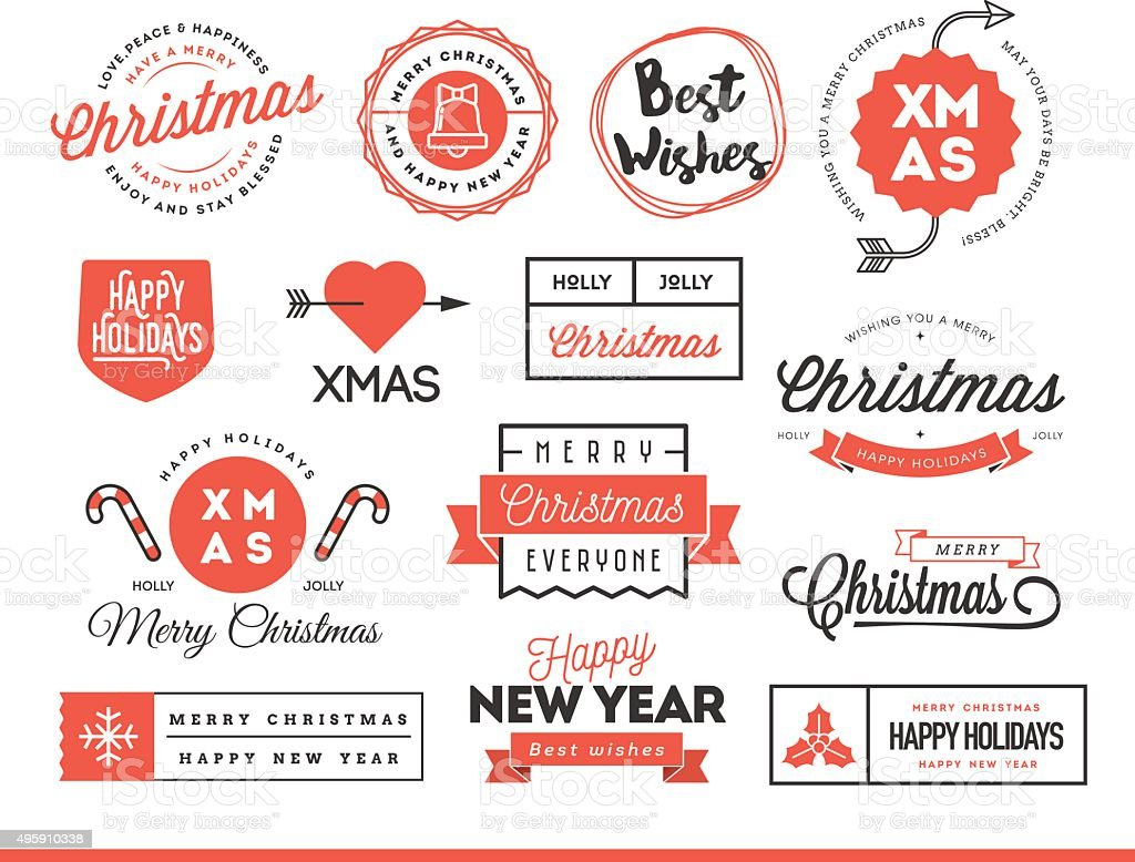 Set of beautiful Christmas themed labels, badges and logos vector art illustration