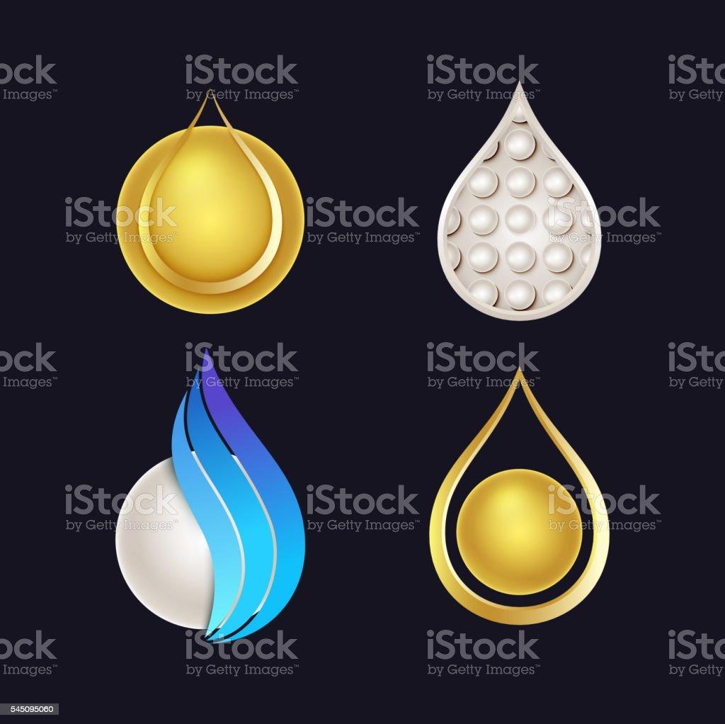 Set of Beautiful Cosmetics Icons vector art illustration