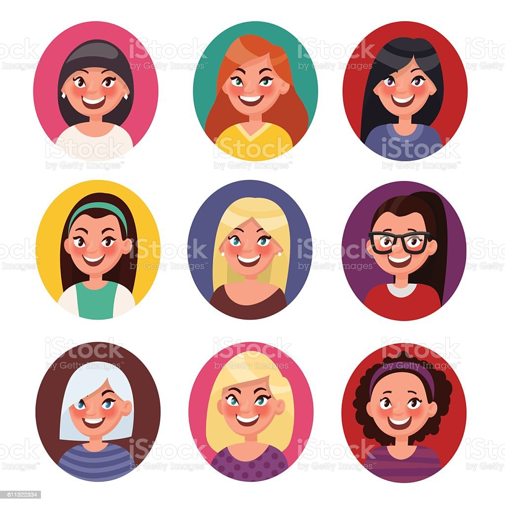 Set of beautiful female avatars with different hairstyles. Vecto vector art illustration