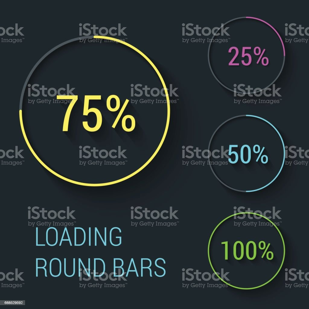 Set of beautiful flat round loading bars. Vector illustration. vector art illustration
