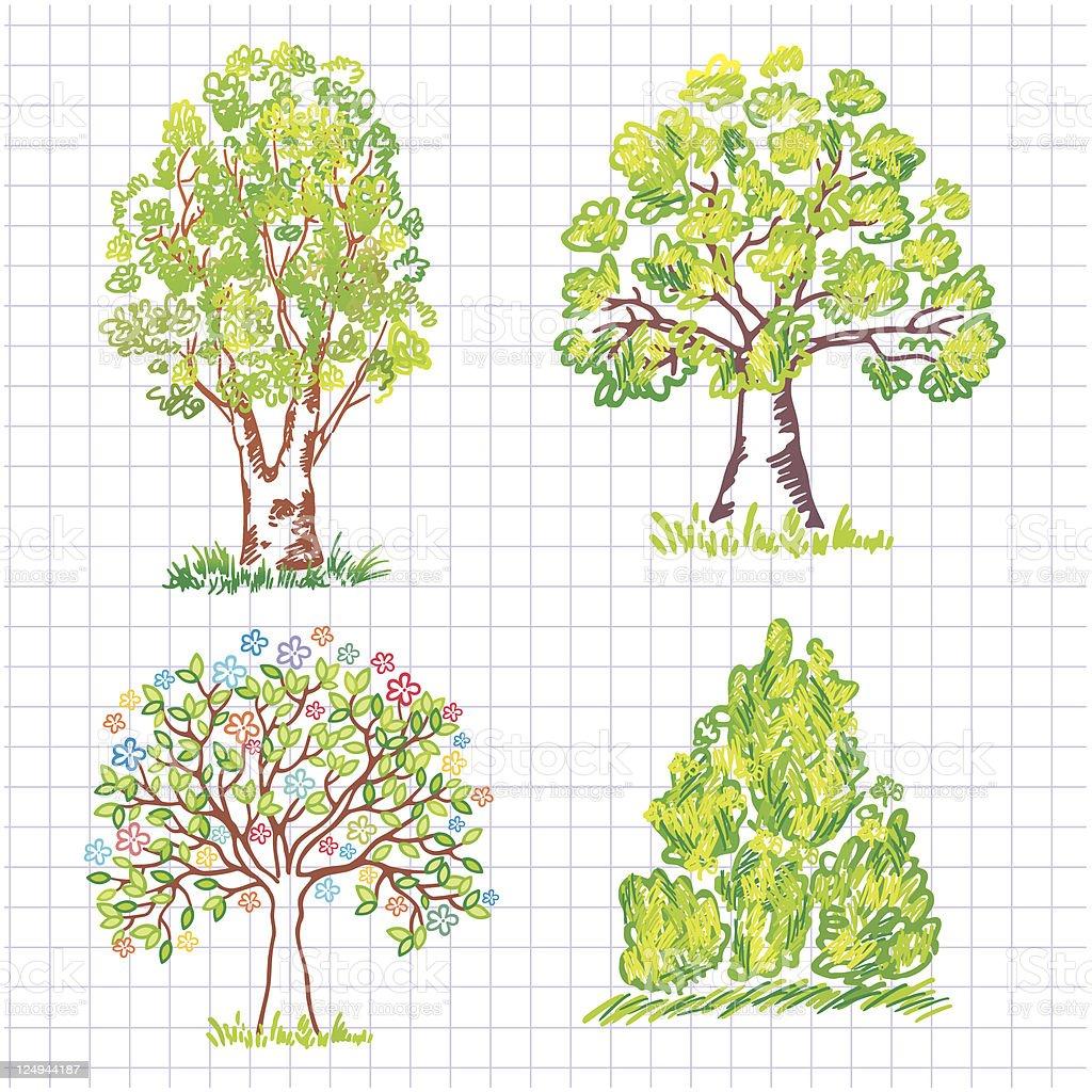 Set of beautiful green trees. Doodle. royalty-free stock vector art