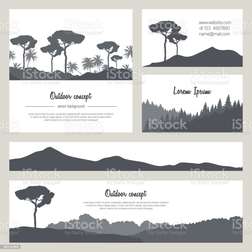 Set of beautiful nature backgrounds with mountains and trees. Vector silhouettes on white. vector art illustration