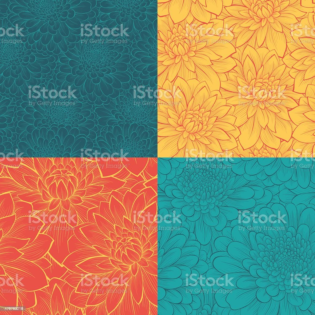 set of beautiful seamless pattern with flowers vector art illustration
