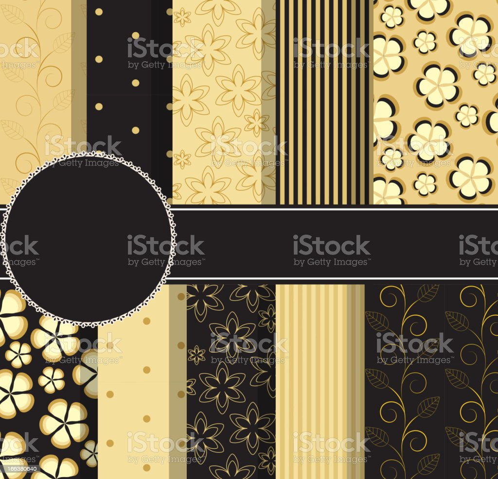 set of beautiful vector gold and black paper for scrapbook royalty-free stock vector art