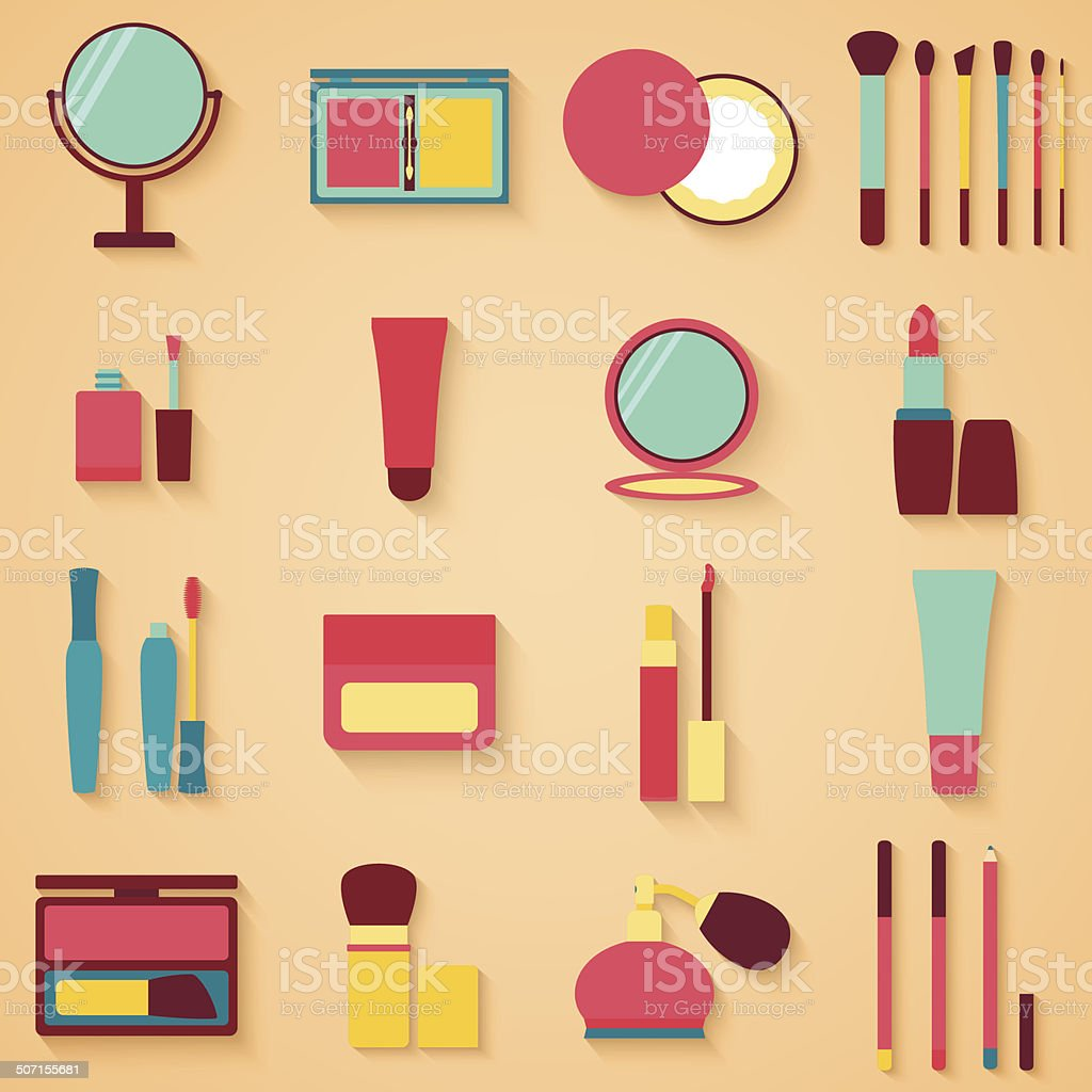 Set of beauty and cosmetics icons. Makeup vector illustration royalty-free stock vector art