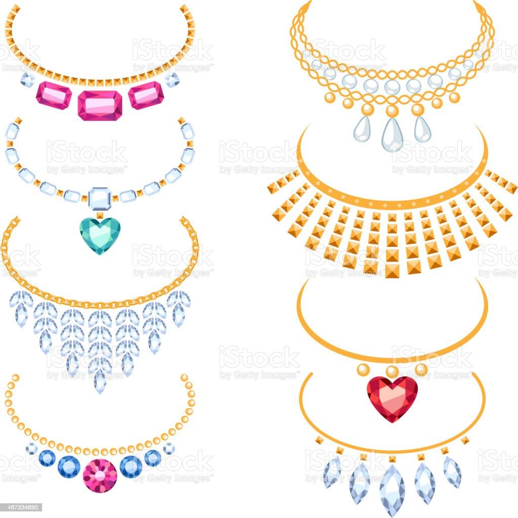 Set of beautyful golden necklaces with gemstones. vector art illustration