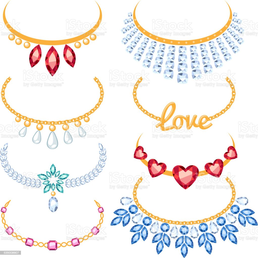 Set of beautyful golden necklaces with gemstones. vector art illustration