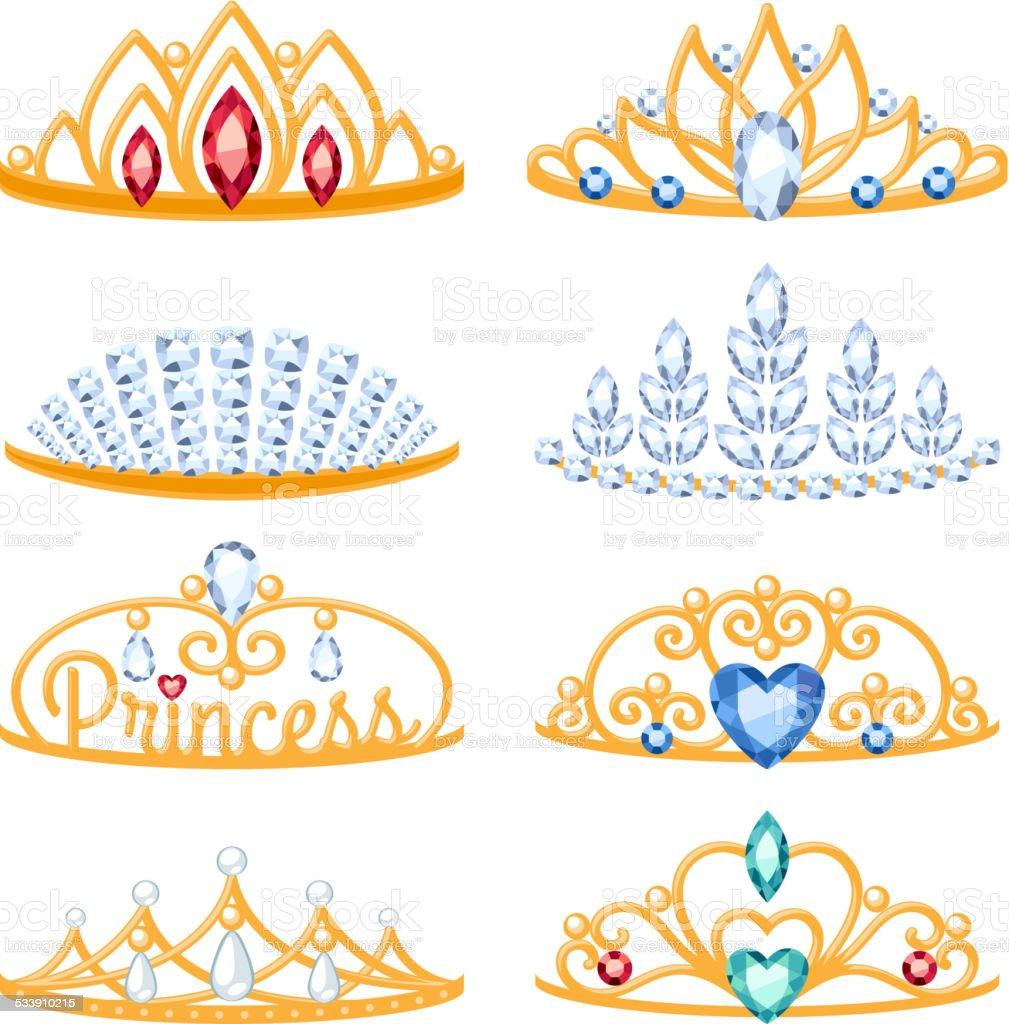 Set of beautyful golden tiaras with gemstones. vector art illustration