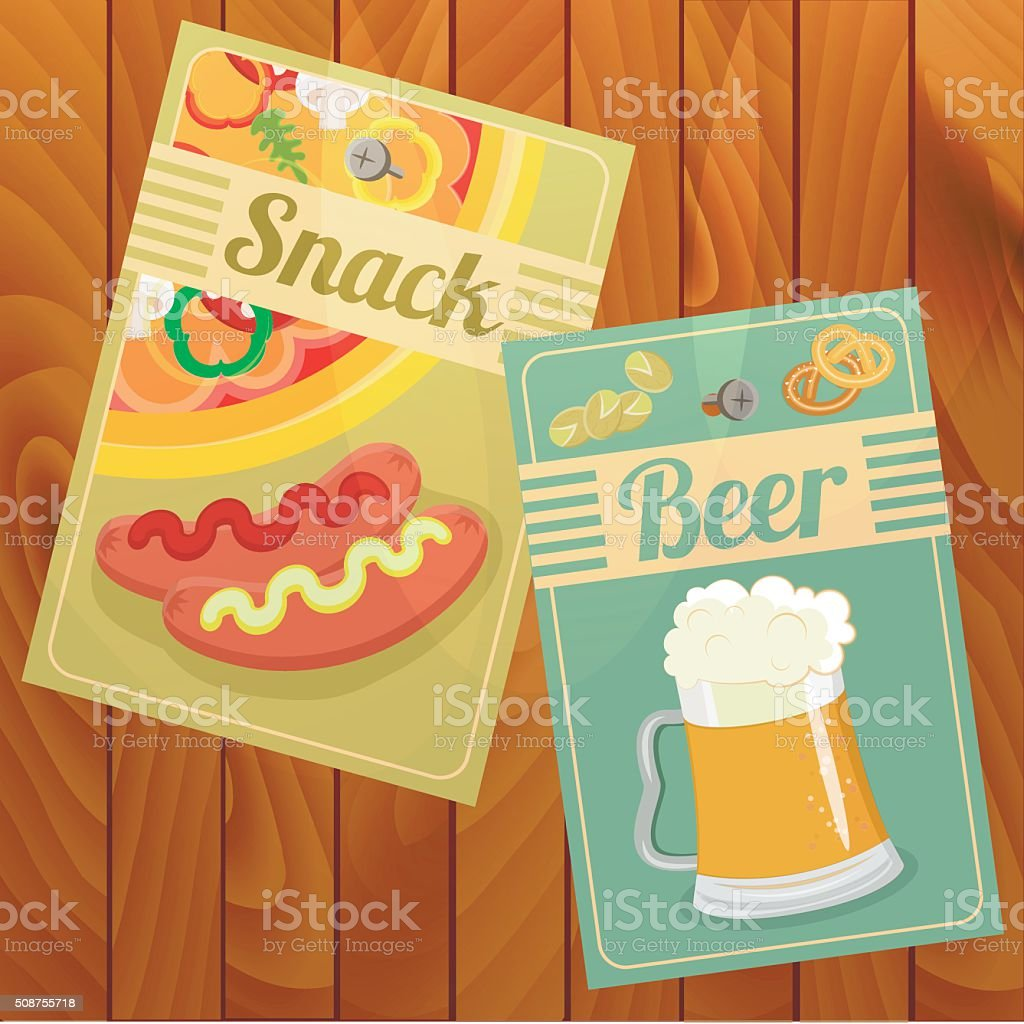 Set of Beer and Snack. vector art illustration