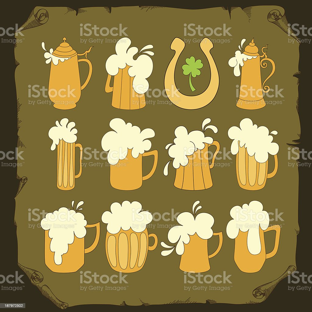 Set of beer glasses royalty-free stock vector art