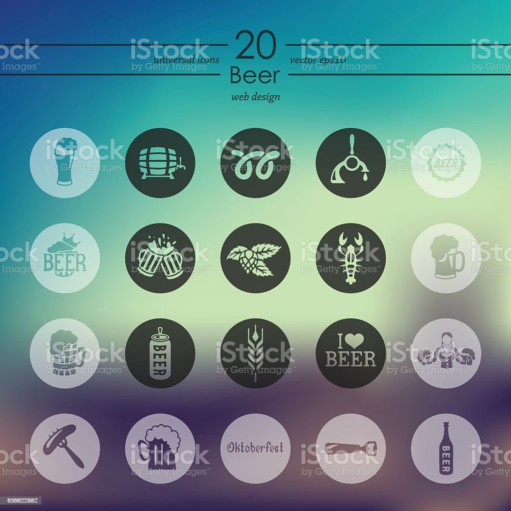 Set of beer icons vector art illustration