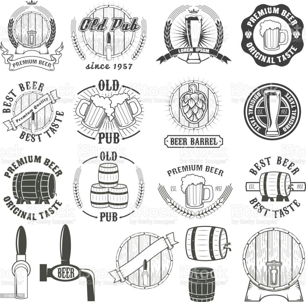 Set of beer labels, badges and design elements. vector art illustration