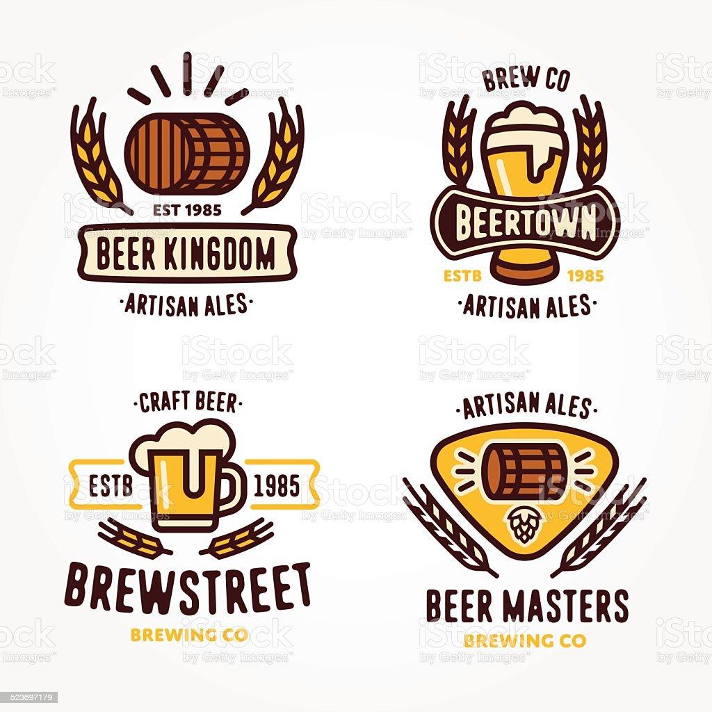 Set of beer logo design elements vector art illustration