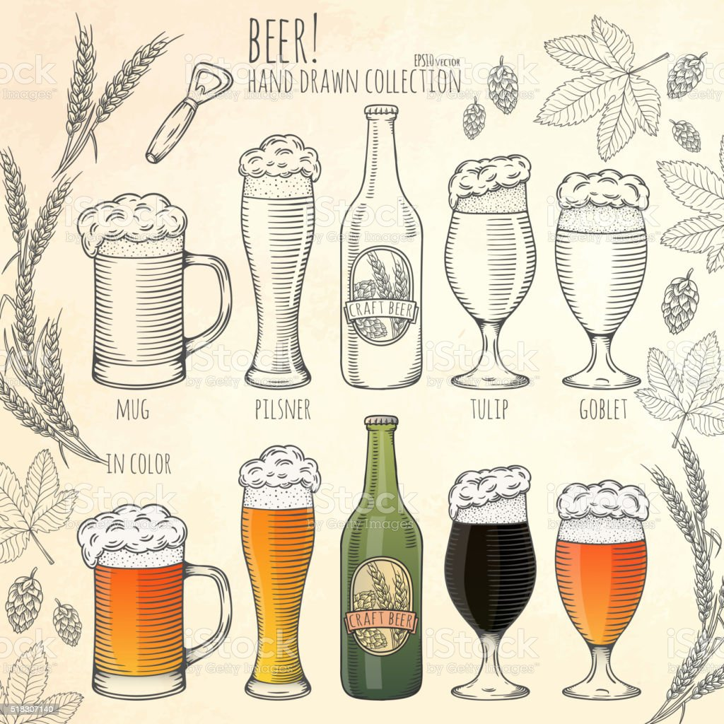 Set of beer objects. vector art illustration
