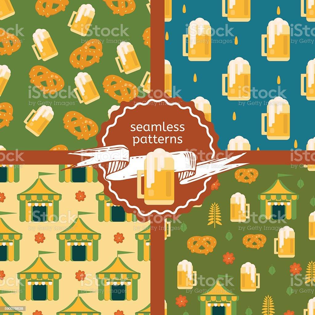 Set of beer theme patterns. vector art illustration