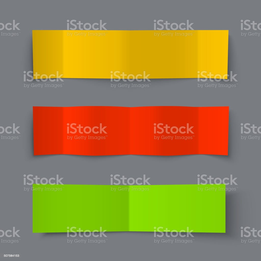 Set of Bended Paper Colorful Banners with shadows vector art illustration
