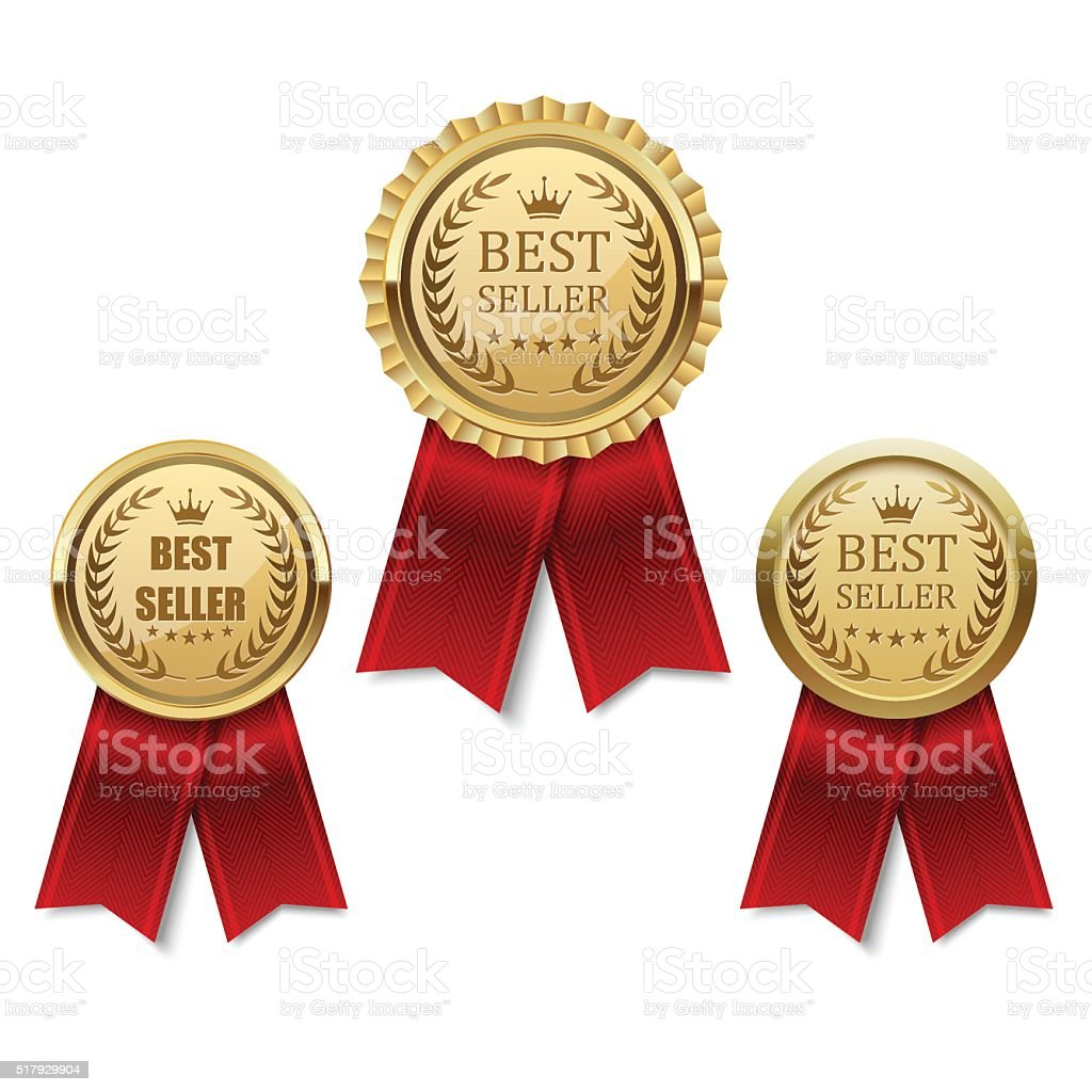 Set of Best seller golden label, vector vector art illustration