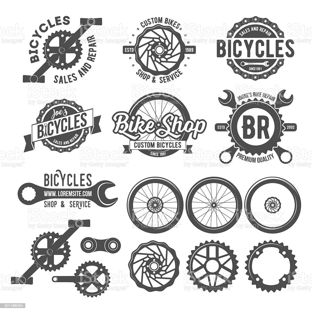 Set of bicycle badges vector art illustration