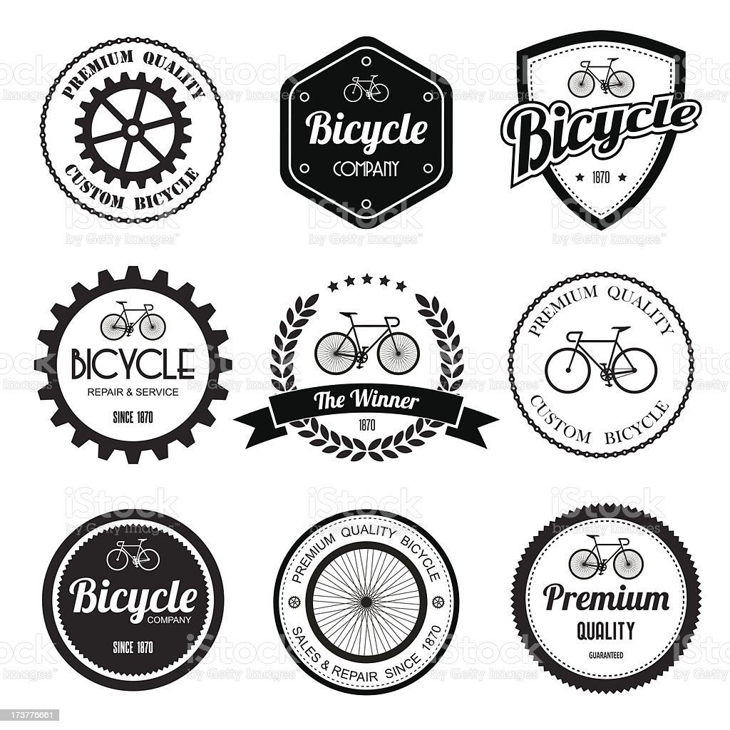 Set of  bicycle retro vintage badges and labels. vector art illustration