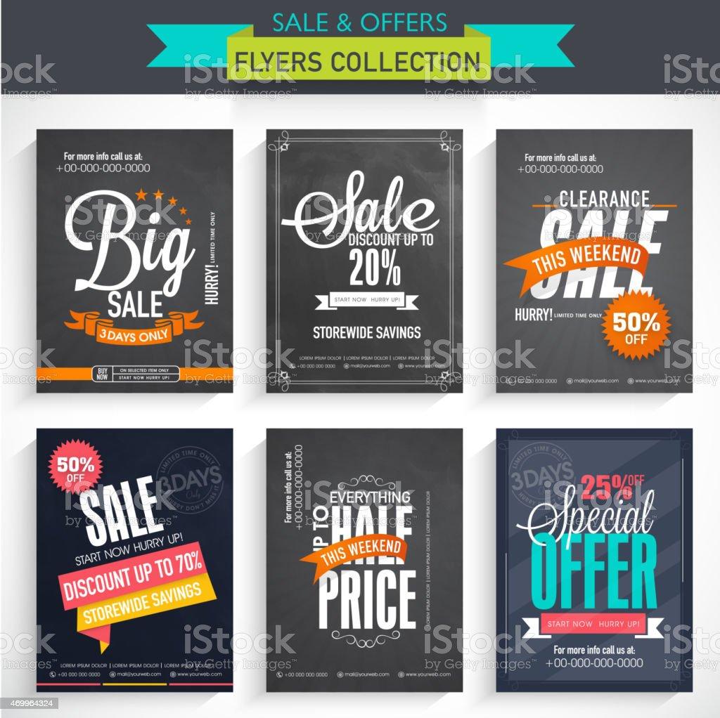 Set of Big Sale Flyers. vector art illustration