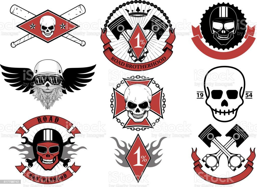 Set of biker badges and emblems. vector art illustration