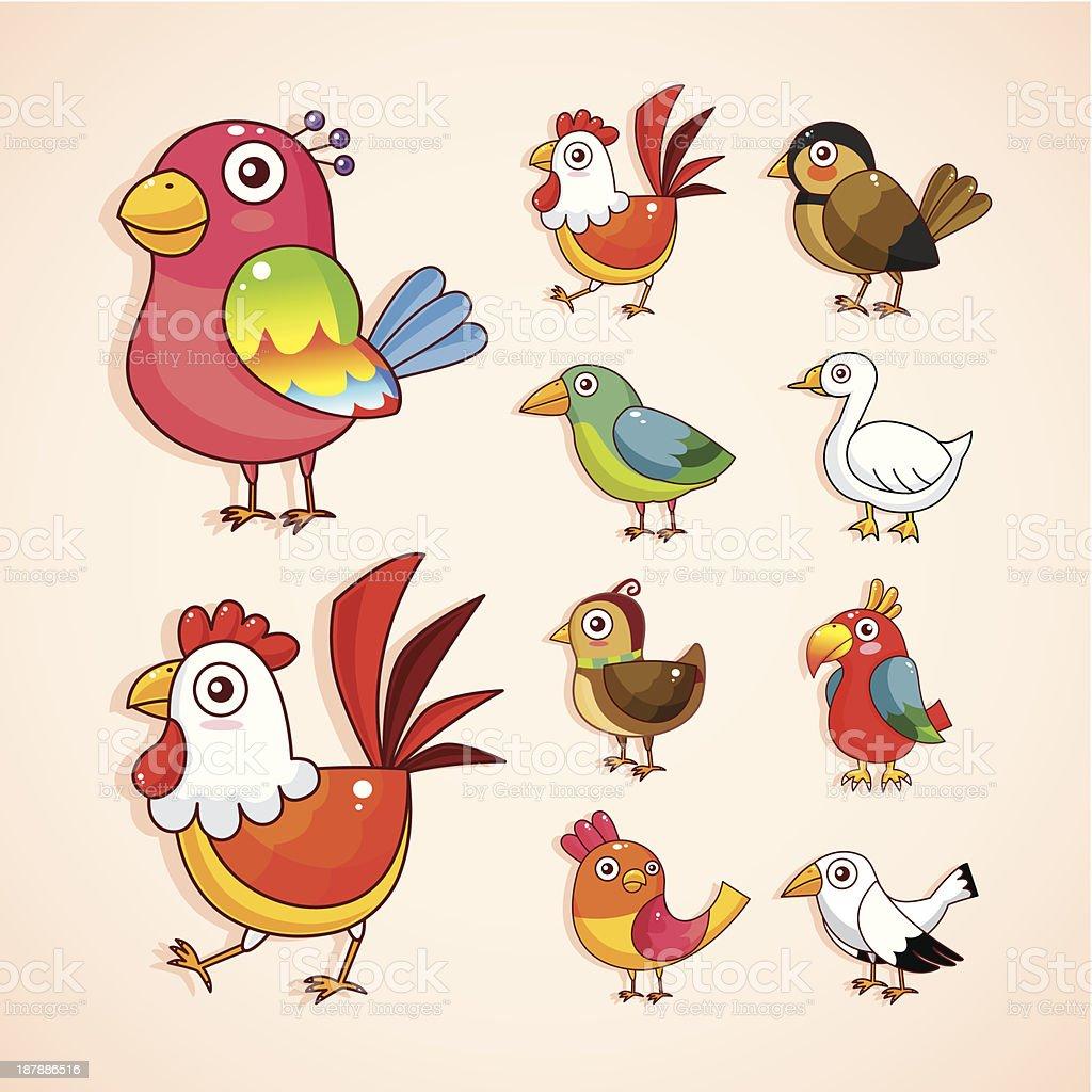 set of bird icons royalty-free stock vector art